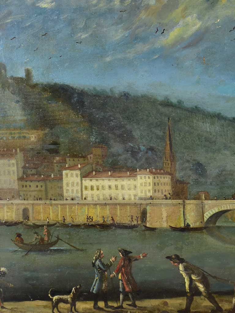 "Antique French painting of Lyon 29¼"" x 23¾"""