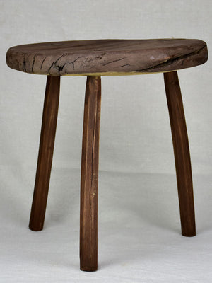 Antique French primitive milking stool with flat seat