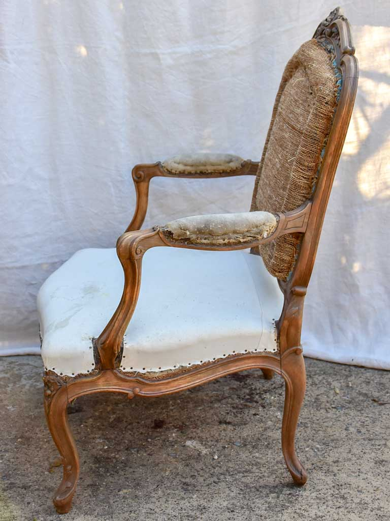Pair of large Louis XV French armchairs - late 19th Century
