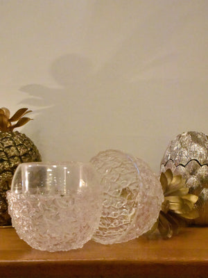 Transparent pineapple ice bucket with gold top