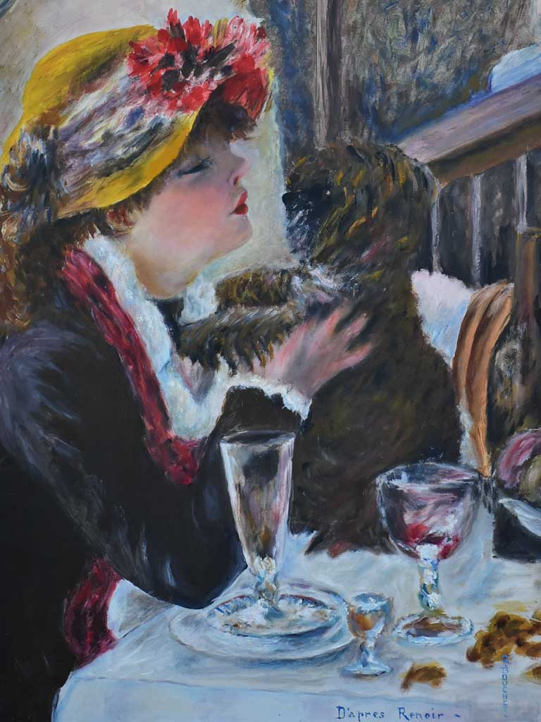 Mid century painting - interpretation of  Luncheon of the Boating Party, Renoir 21¼ x 27¼""""