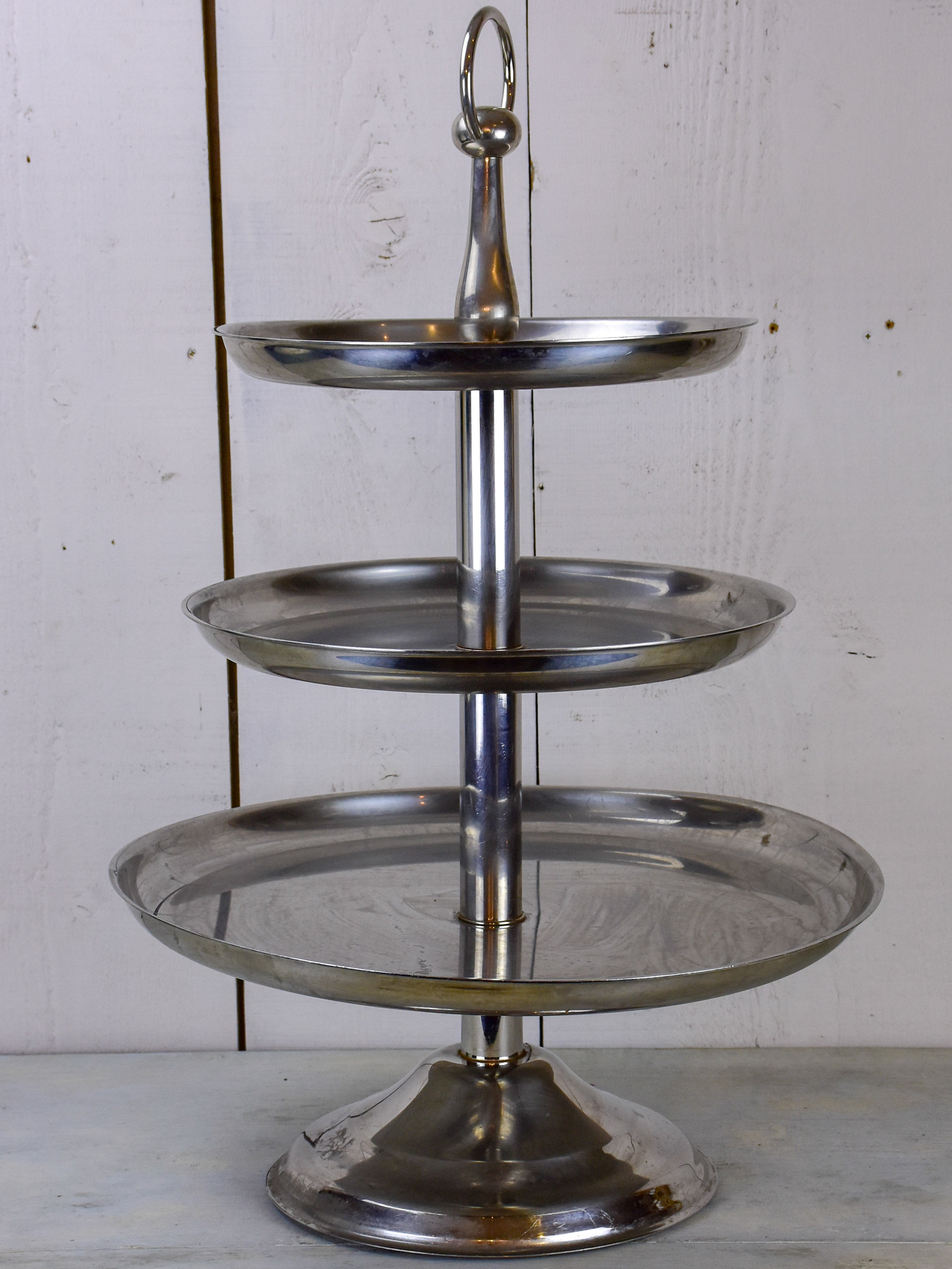 Large Antique French Three Tiered Serving Stand