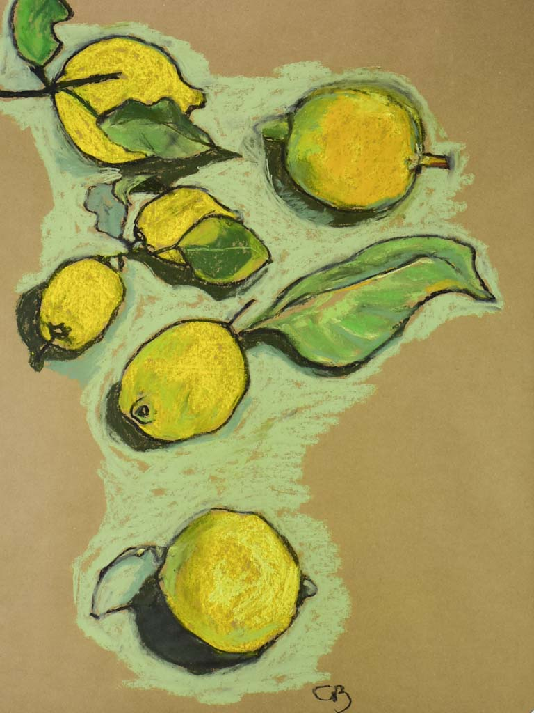 "Lemons still life - Caroline Beauzon - pastel on craft paper 24½"" x 34¼"""