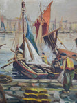 "Late 19th Century painting of a fishing harbor 39½"" x 25½"""