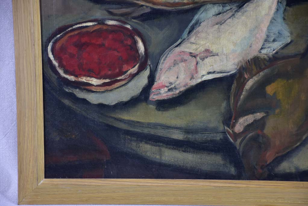 "Still life of fish on round table. 1933 signed 27¼"" x 33"""