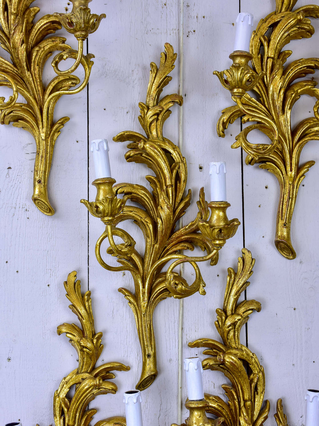 Set of five giltwood wall sconces
