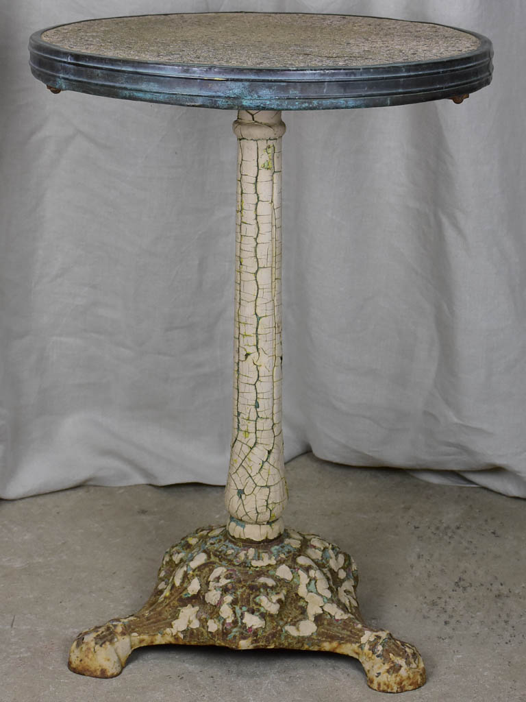 Antique French bistro table with cast iron base