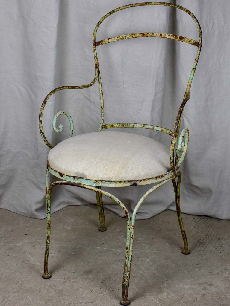 Antique French wrought iron armchair