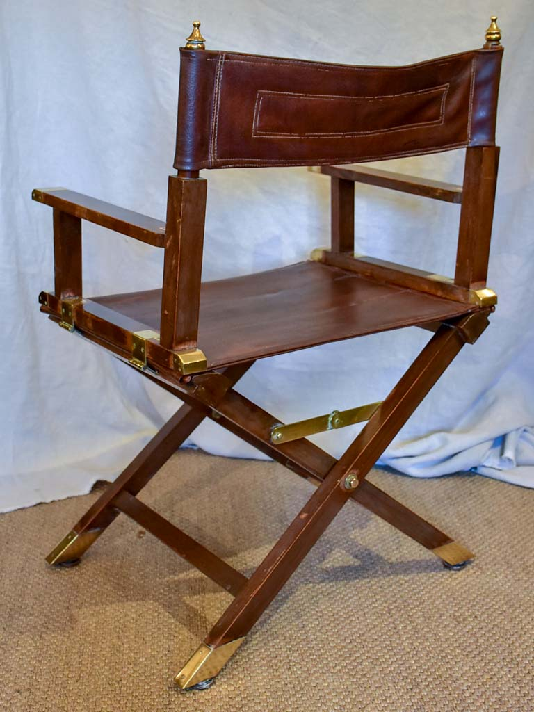 1930's French leather folding director's chair