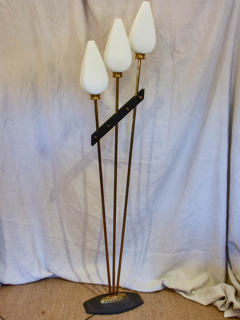 Mid century floor lamp with three opaque lights 65""