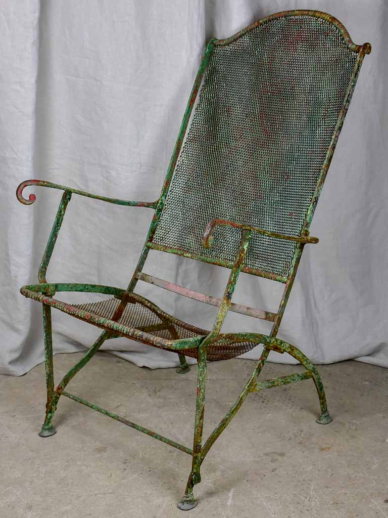 Antique French garden armchair - metal mesh