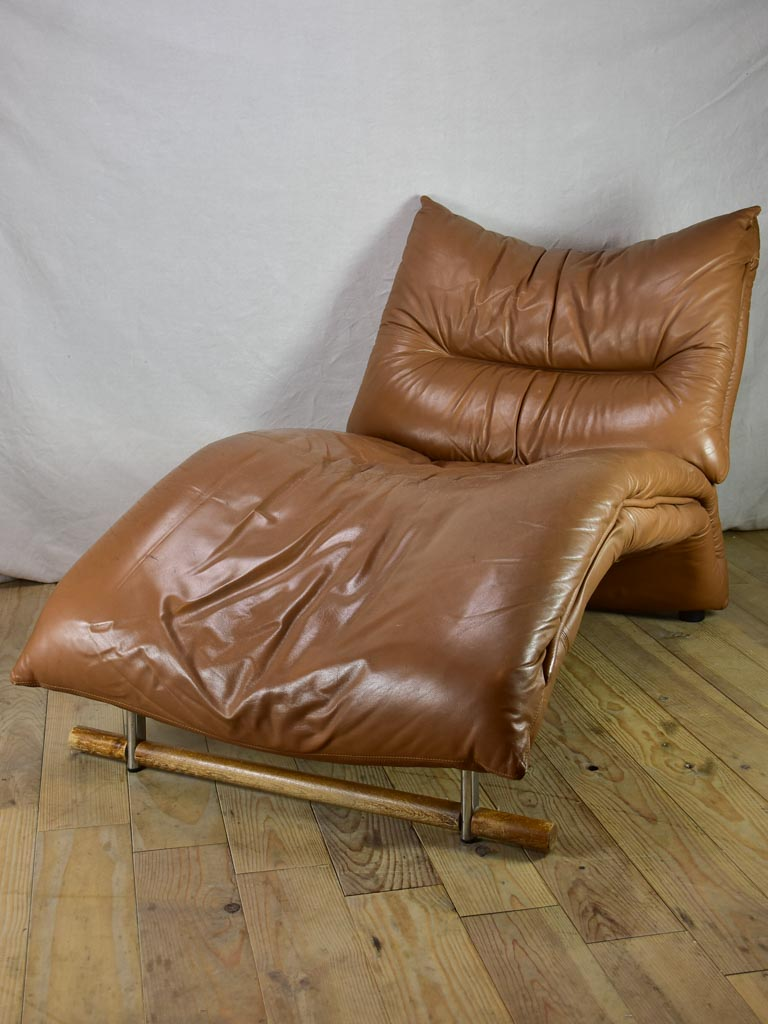 Very large brown leather chaise longue - 1960's lounge chair 61""