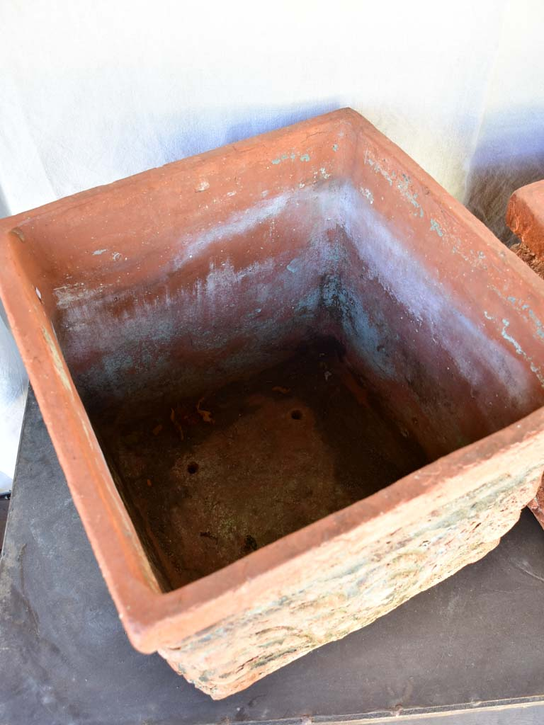 Pair of large antique French terracotta planters from the French Riviera 16½""