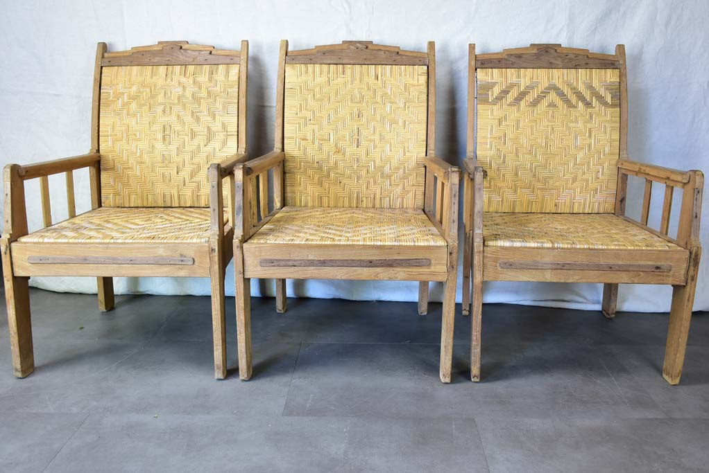 Set of four 1940's Colonial armchairs