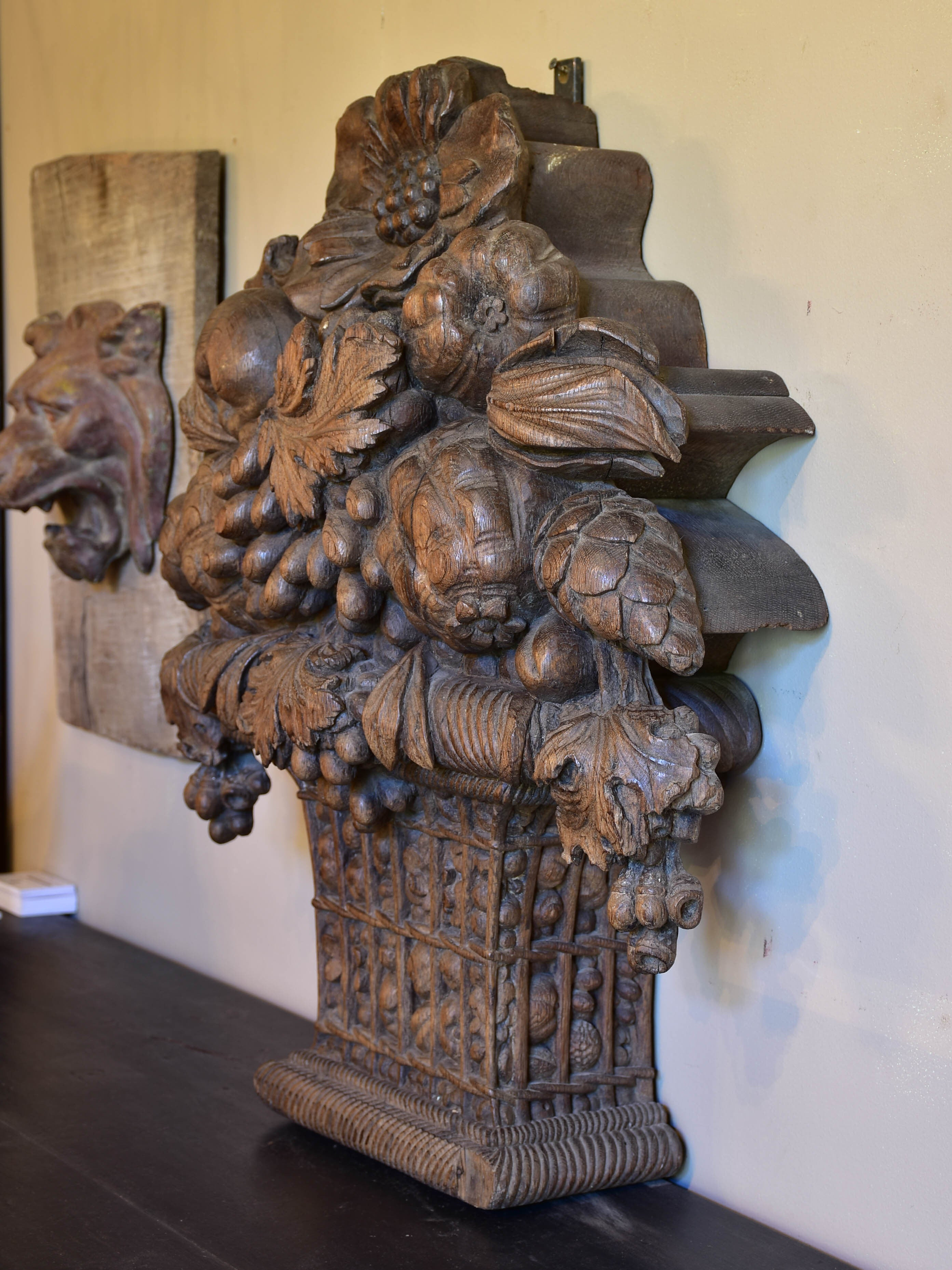 Large carved oak fruit basket from a 19th century boiserie