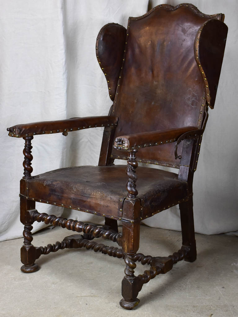 17th Century Louis XIII adjustable leather wingback armchair