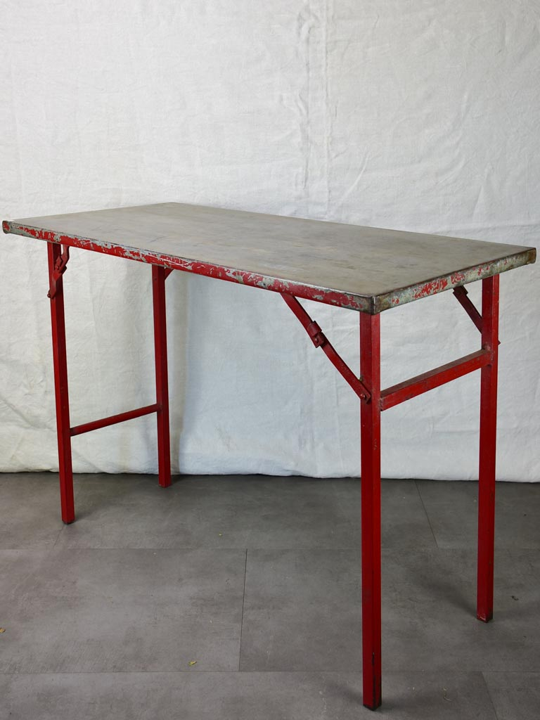 "Folding industrial table from an atelier - early 20th century 41¾"" x  19¾"" x 30"""