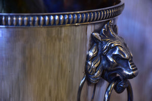 Antique French champagne bucket with lion's head handles