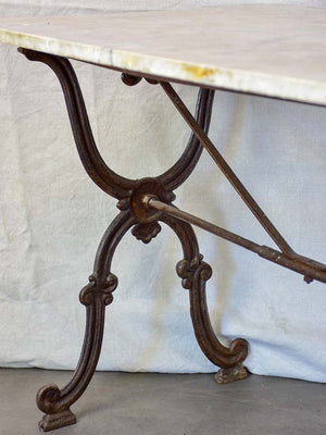 "Late nineteenth century French marble presentation table with cast iron base 23¾"" x  40½"""