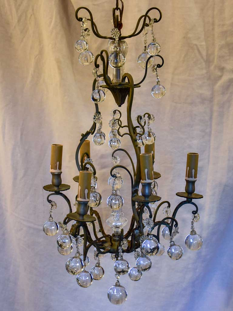 19th Century French chandelier with round pendants 26""