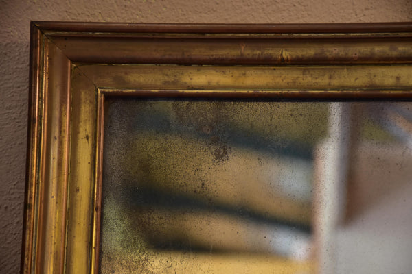Antique French bistro mirror with brass frame