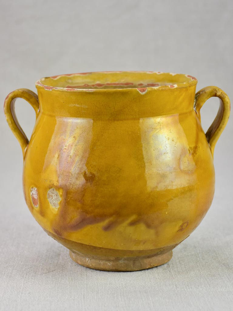 Antique French honey pot with yellow / orange glaze 6""