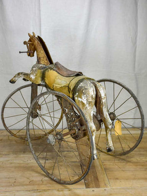 Rustic 19th Century French toy horse tricycle