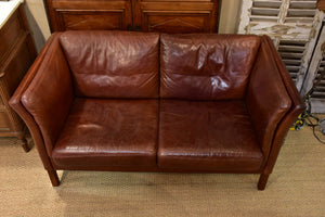 Danish leather sofa attributed to Børge Morgensen