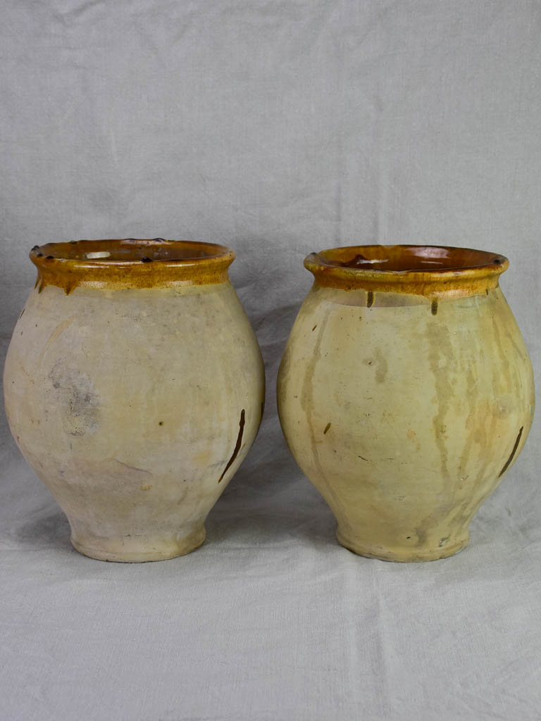Pair of antique French confit pots with sepia glaze from Castelnaudary 11¾""