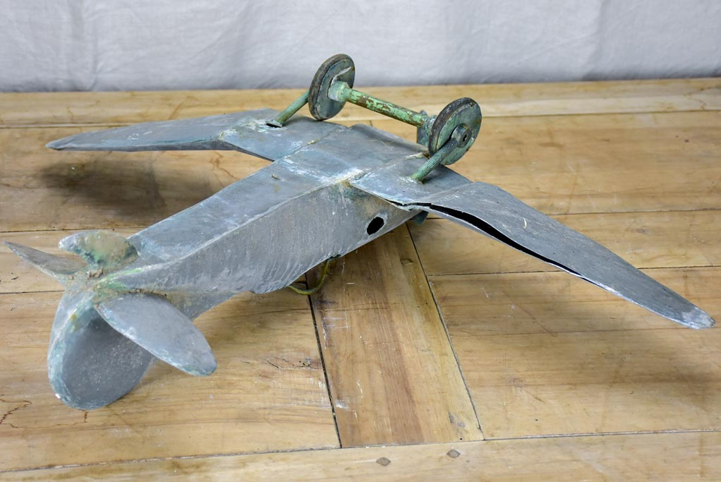 19th Century French zinc toy aeroplane