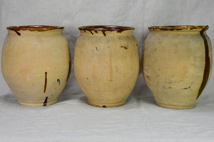 Three antique French confit pots with speckled glaze from Castelnaudary 11¾""