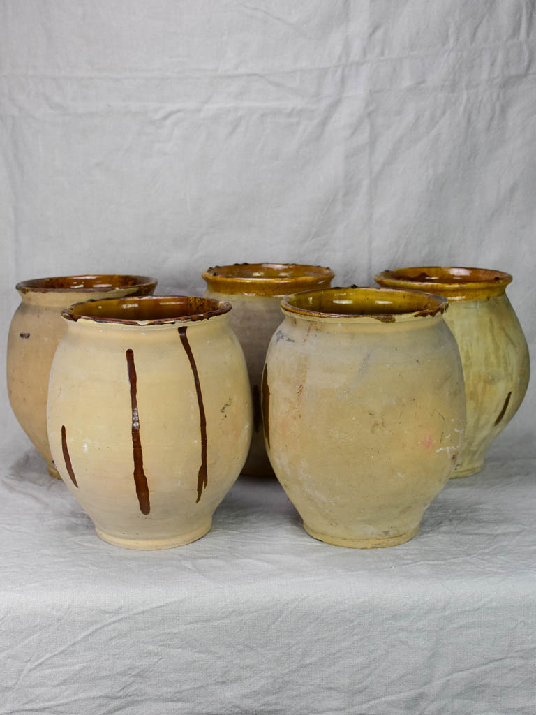 Collection of five antique French confit pots from Castelnaudary