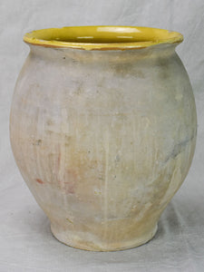 Antique French confit pot with yellow glaze from Castelnaudary 13½""