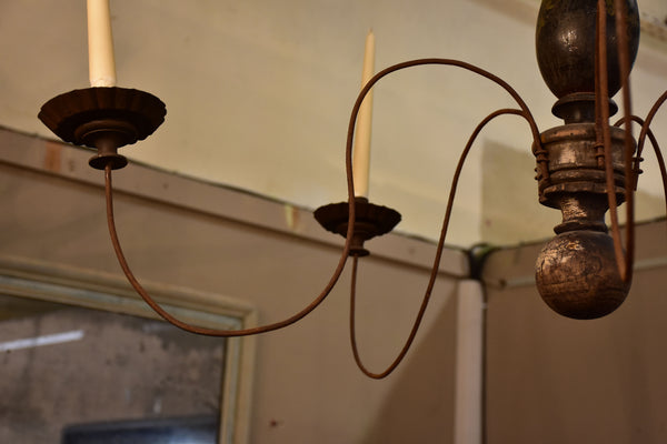 19th century French five arm chandelier for candles