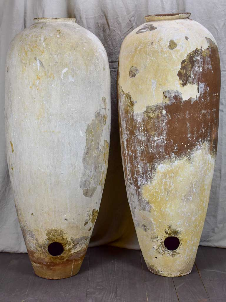 Pair of very tall antique Greek water pots 49""