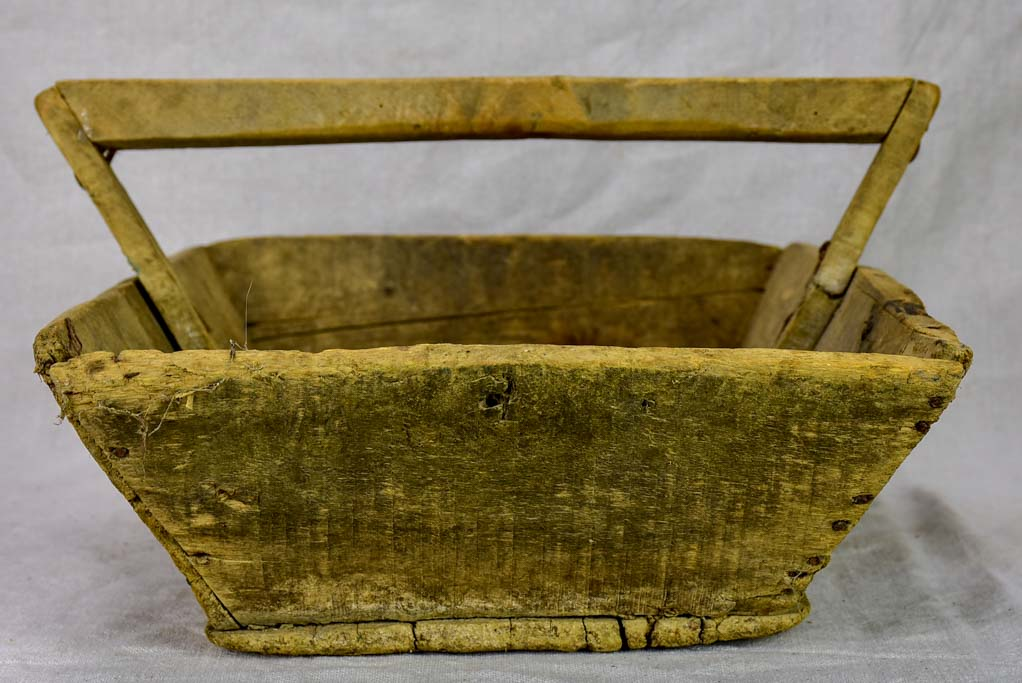 "Rustic antique French harvest basket with square handle 15¾"" x 20"""