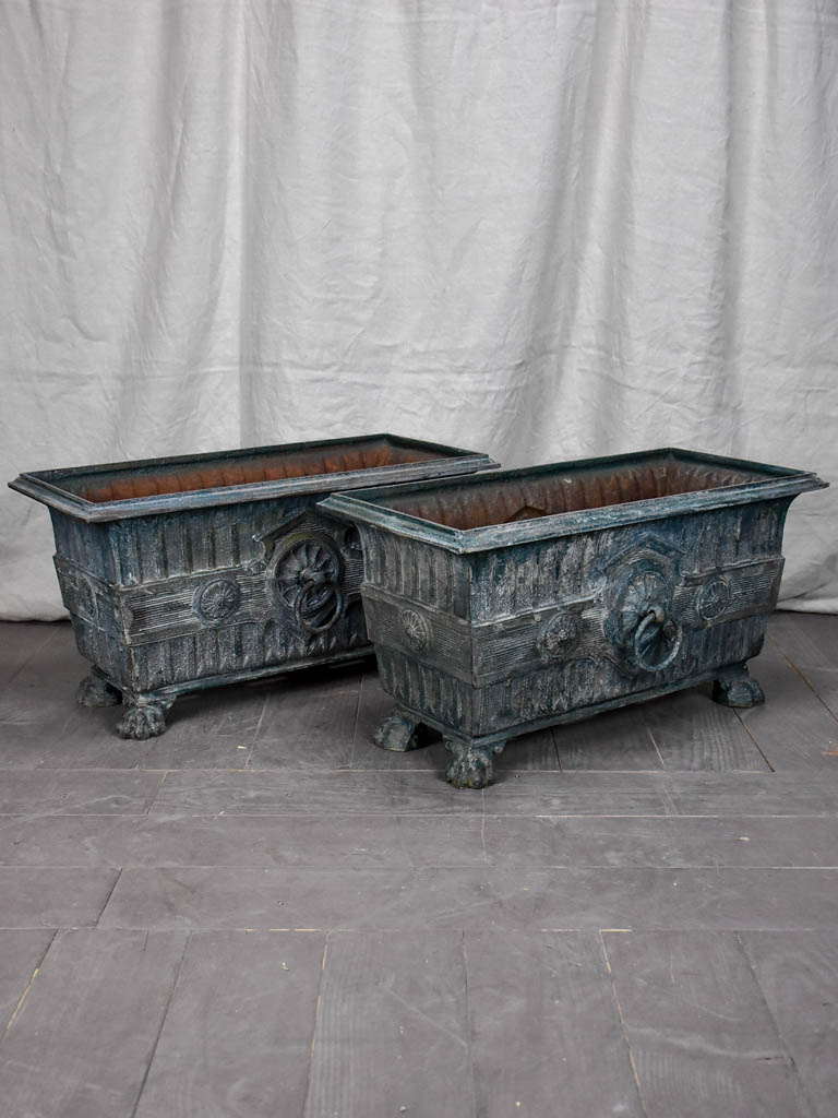 Pair of Rectangular French Directoire garden planters - cast iron
