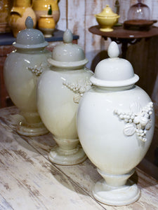 Collection of three antique ironstone pharmacy jars