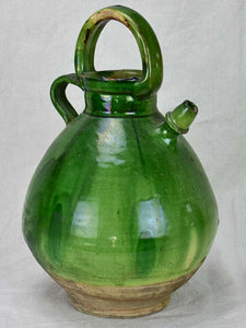 Antique French water cruche with green glaze 15¾""