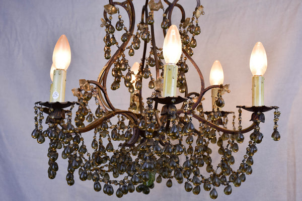 Antique Italian chandelier with glass pendants