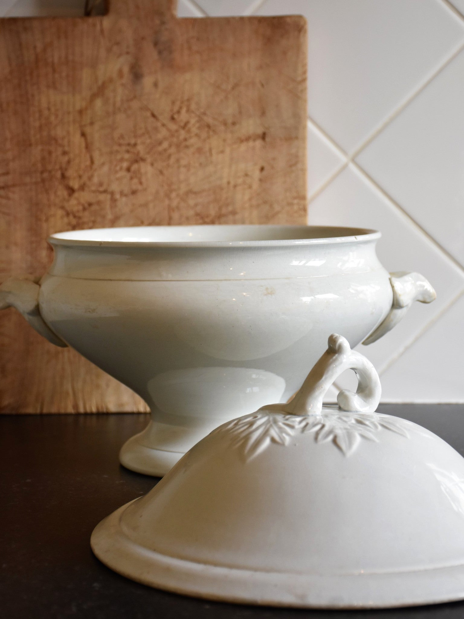 French white ironstone soup tureen with artichoke leaf lid