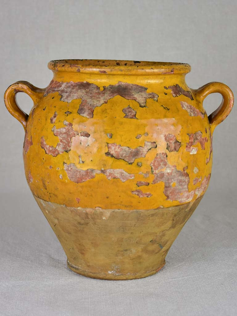 Antique French confit pot with orange / yellow glaze 10¼""