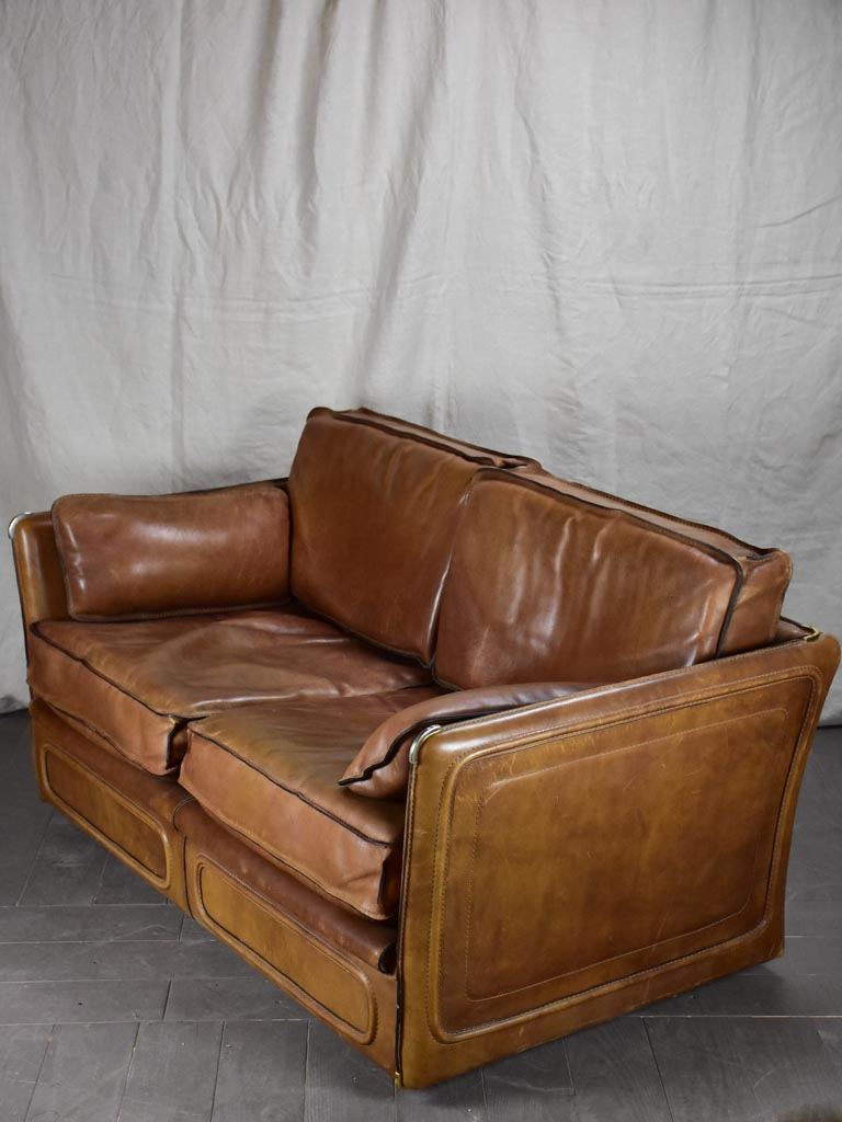 French mid century leather Roche Bobois sofa