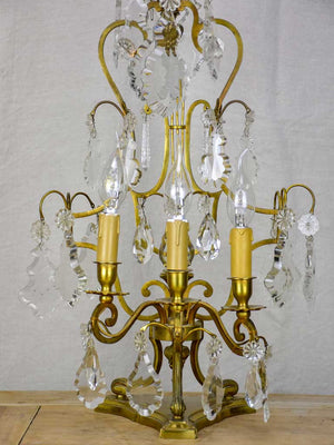 1940's French bronze and crystal table lamp