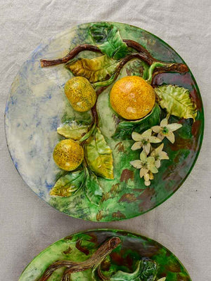 Two Barbotine plates decorated with lemons and oranges - Longchamp 19th Century 12½""