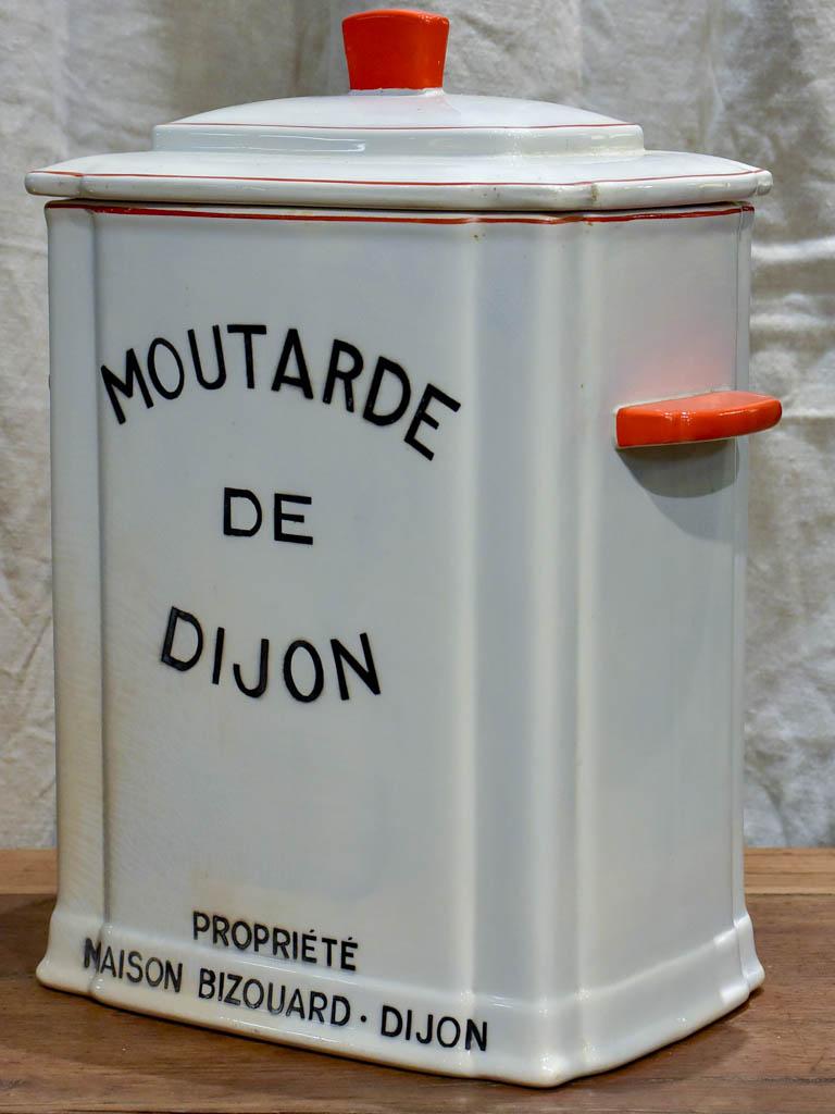 Large antique French mustard distribution pot - Digoin Sarreguemines