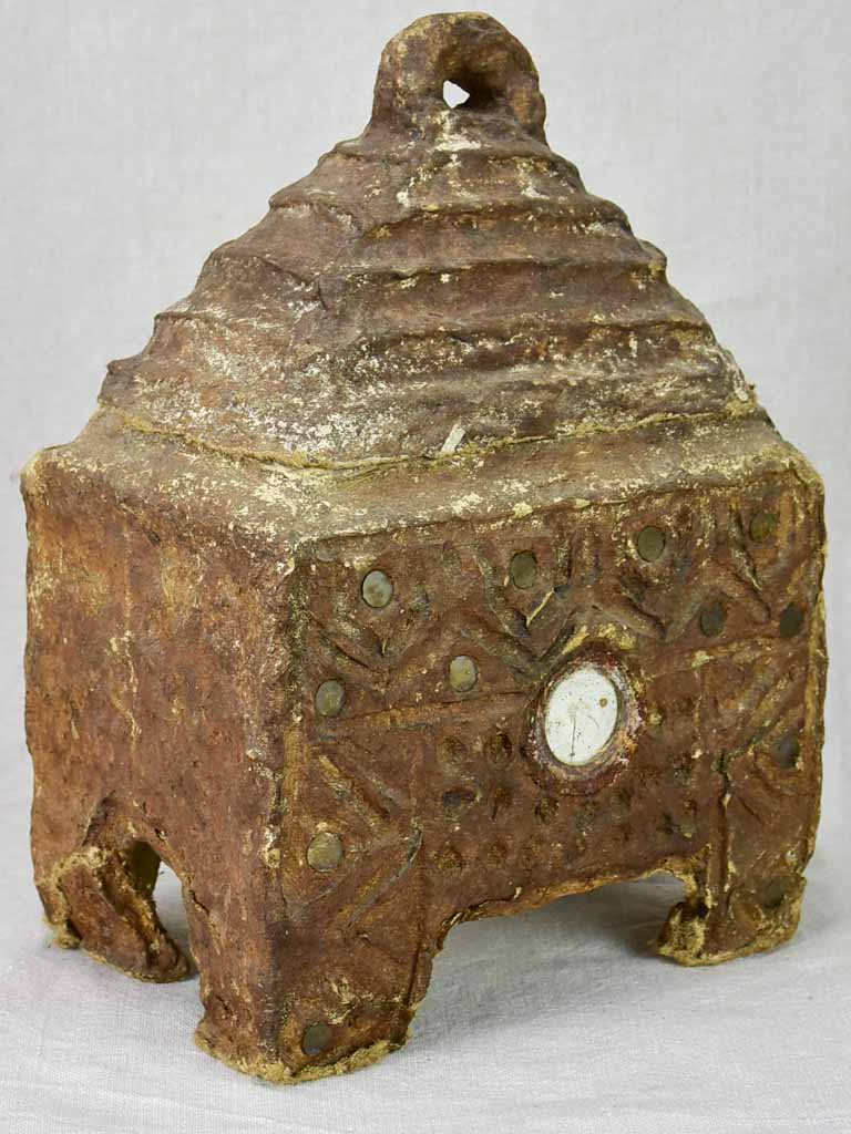 Antique paper mache box with a little mirror