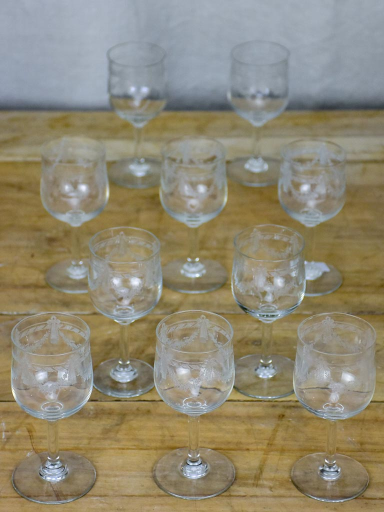 10 early 20th Century Louis XVI style wine glasses