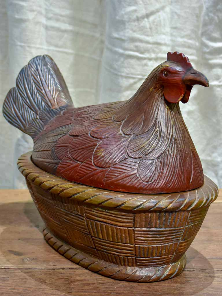 French folk art - wooden sculpture of a chicken