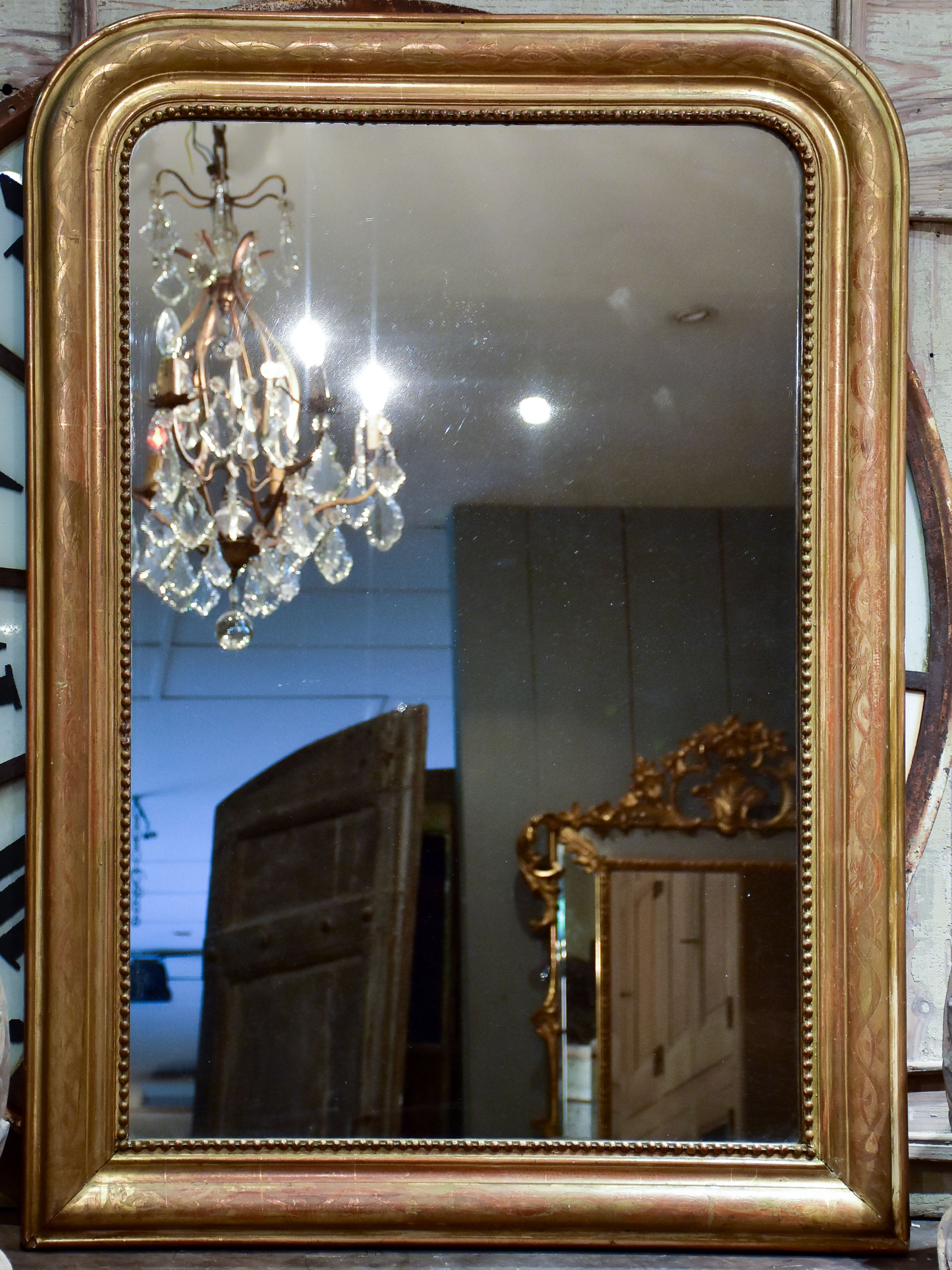 19th century Louis Philippe mirror with gilded frame